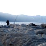 Ancona Portonovo Man Fishing
